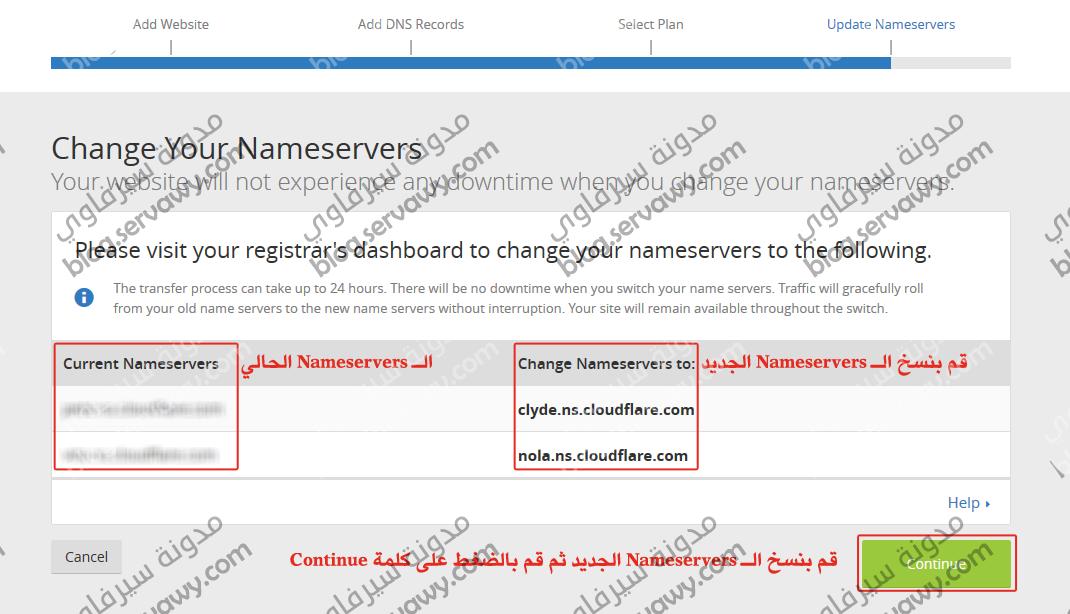 الخطوة السابعة تحديث الـ Nameservers
